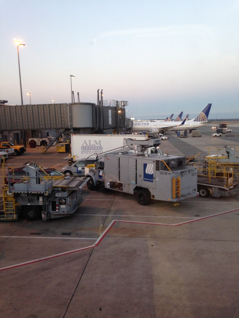 view of other united flights lined up at terminal at iad airport