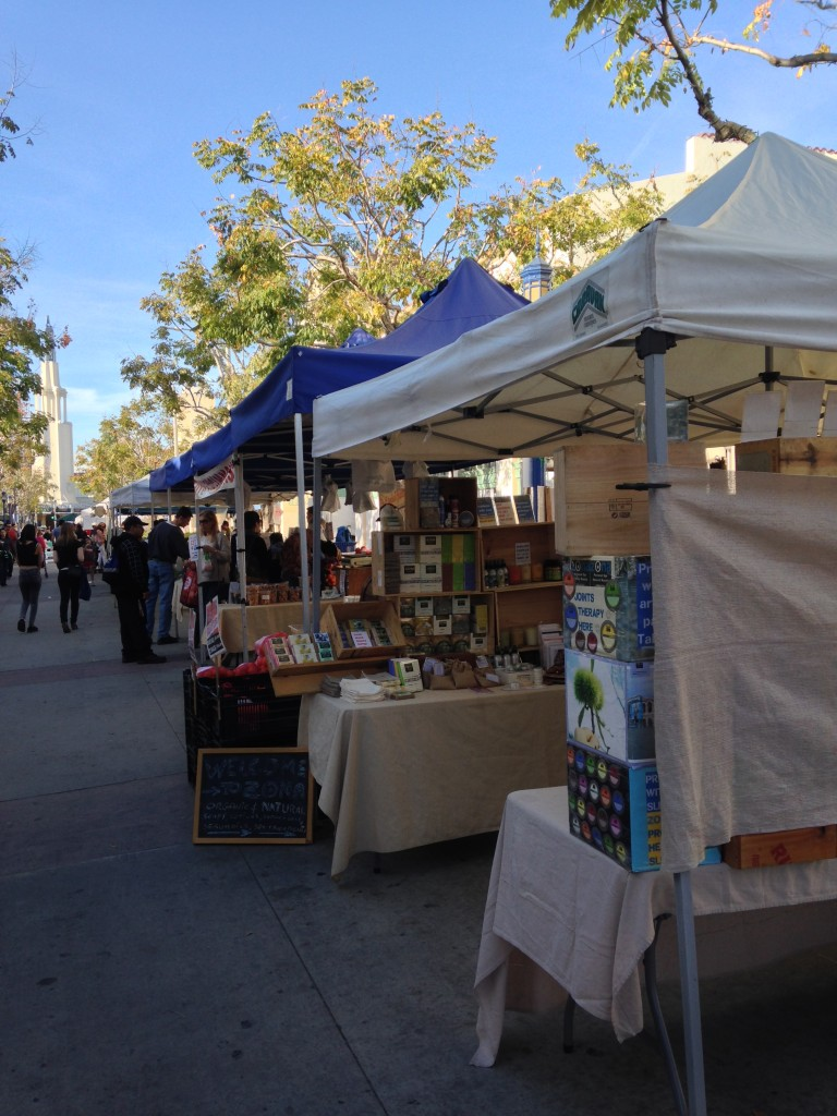 booths at westwood farmers market on broxton street thursday near ucla