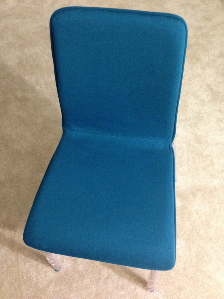 blue felt accent chair