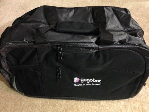 gogobot branded large duffel bag with tons of pockets