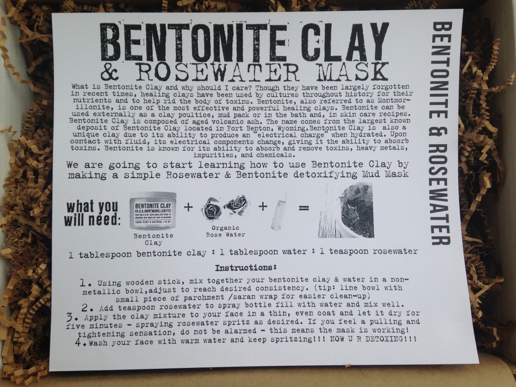 the homegrown collective january 2014 project bentonite clay and rosewater mask info card