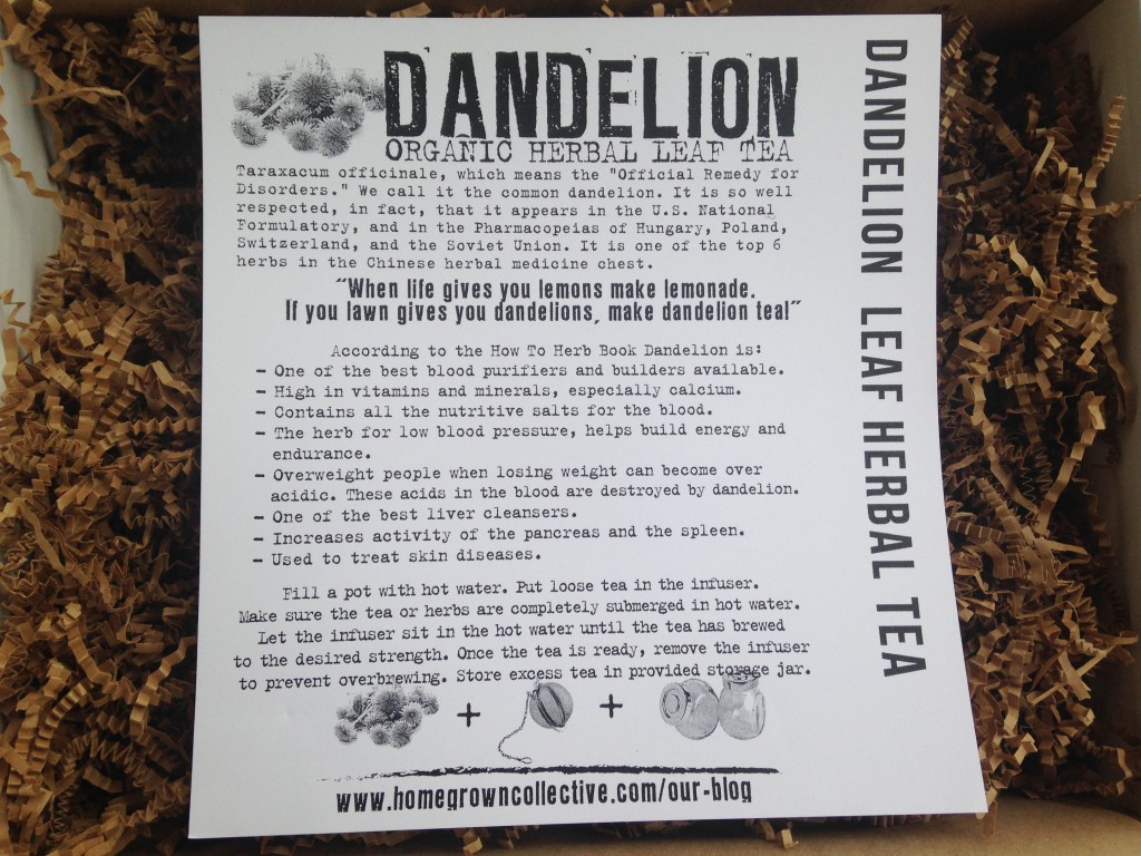 the homegrown collective january 2014 project dandelion leaf herbal tea info card
