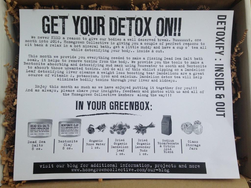 the homegrown collective january 2014 detoxify inside and out info card