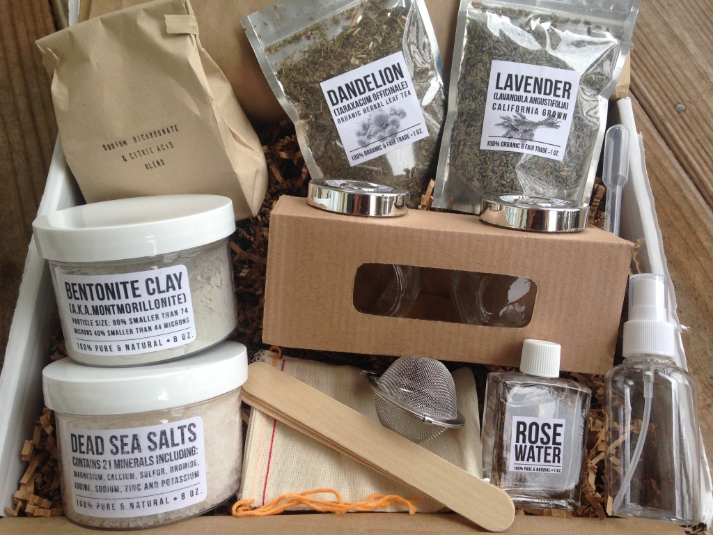 contents of the homegrown collective january 2014 box with diy detoxify inside and out theme