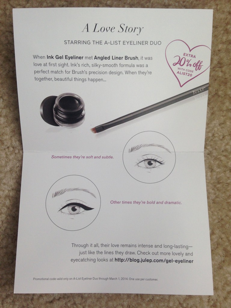 julep a-list eyeliner duo information card