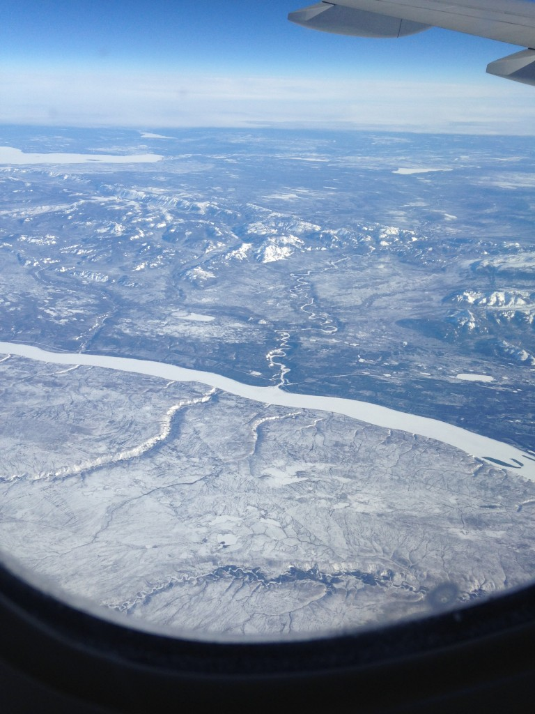 view over arctic landscape from plane window