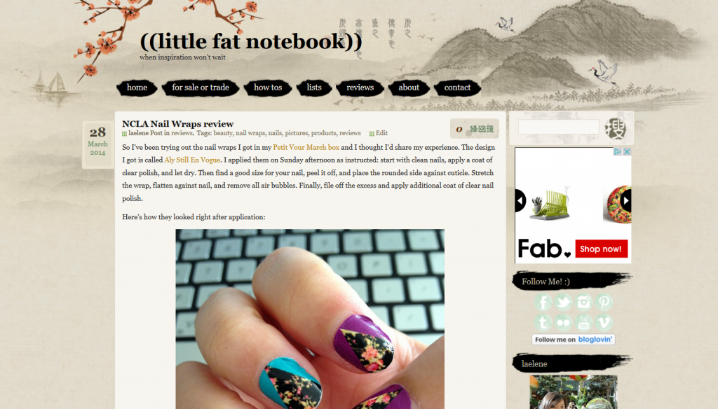 little fat notebook blog with ink and wash wordpress theme
