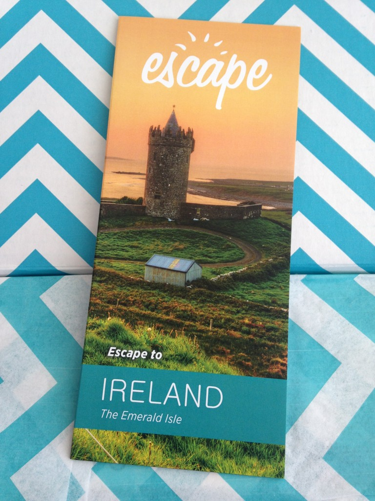 escape monthly march ireland box info card against blue and white chevron background