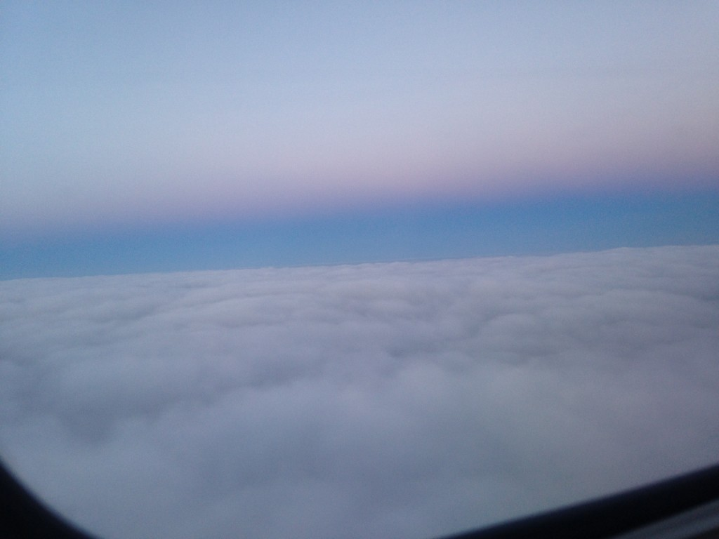 fluffy cloud coverage with pastel colors in sky