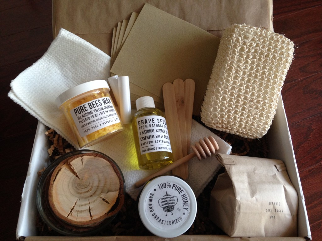 contents of the homegrown collective february 2014 box with honey how sweet it is theme