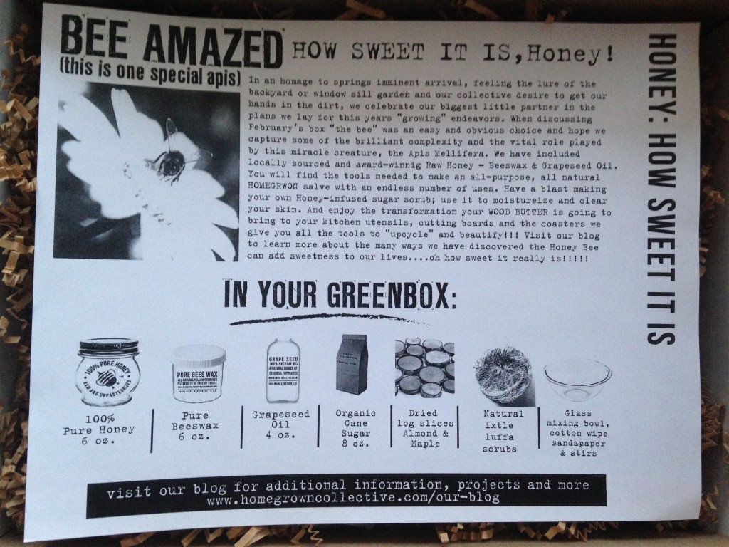 the homegrown collective february 2014 honey how sweet it is info card