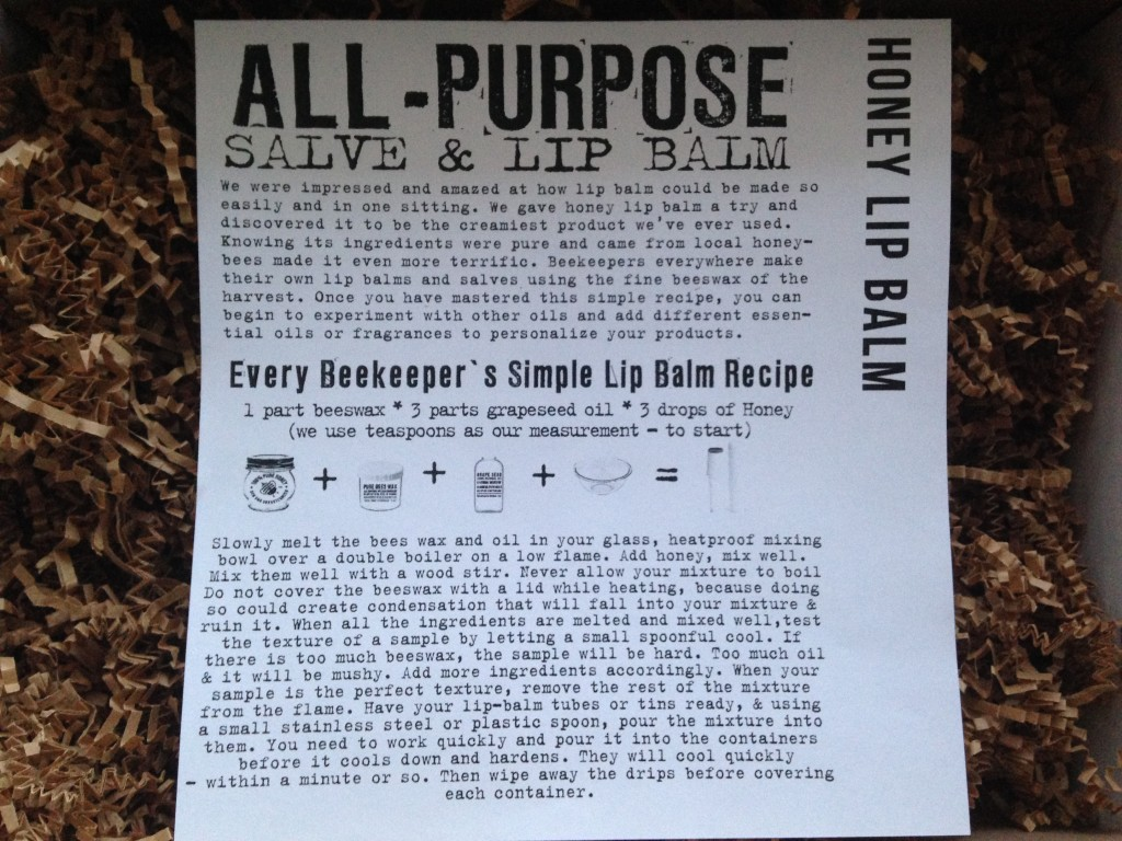 the homegrown collective february 2014 project honey lip balm info card