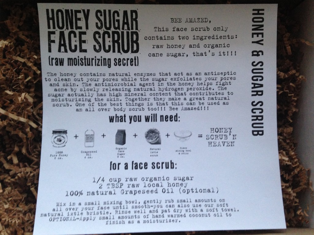 the homegrown collective february 2014 project honey sugar face scrub info card