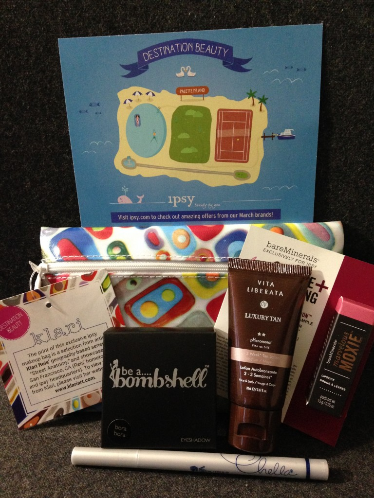 ipsy march 2014 bag items with card including be a bombshell bora bora eyeshadow palette with starlet, bora bora, rock bottom, and risky business shades, vita liberata tan lotion, bareminerals marvelous moxie lipstick in get ready, and chella eyeliner pen in indigo blue