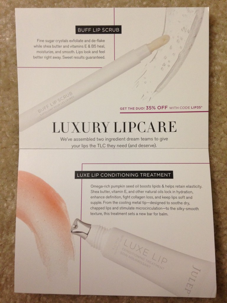 julep luxury lipcare buff lip scrub and luxe lip conditioning treatment information card