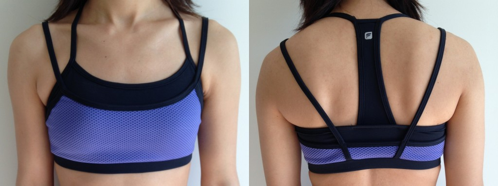 collage of front and back of fabletics lille sports bra in black and purple sage