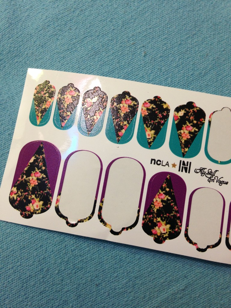 part of ncla nail wraps in aly still en vogue strip of nail wraps with some missing