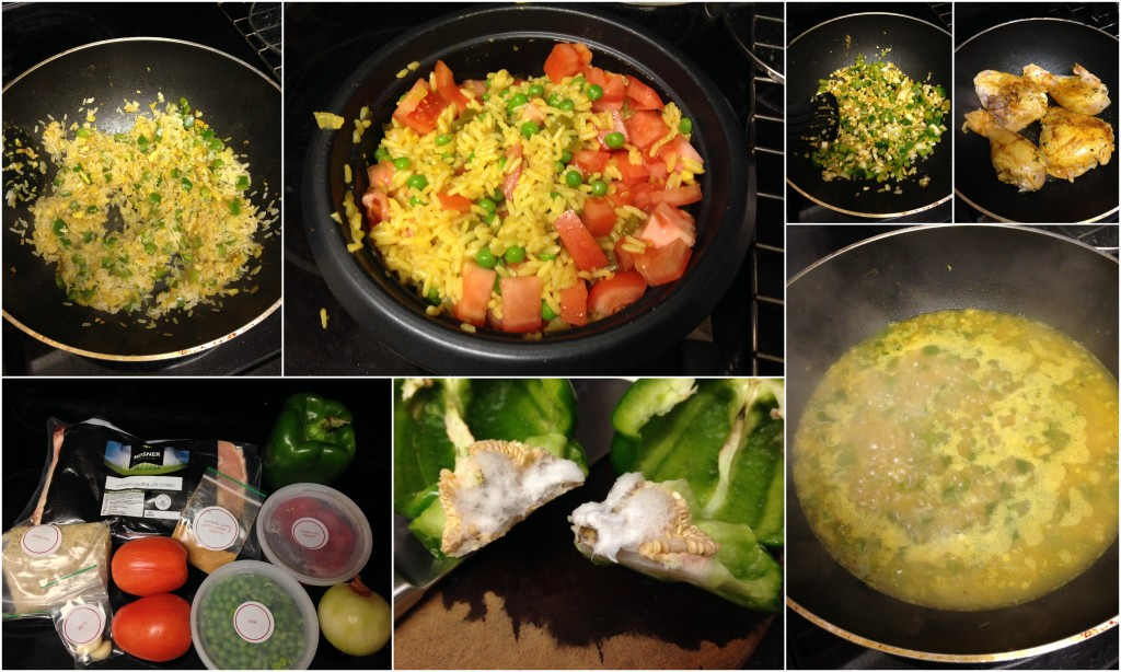 collage of cooking plated arroz con pollo dish
