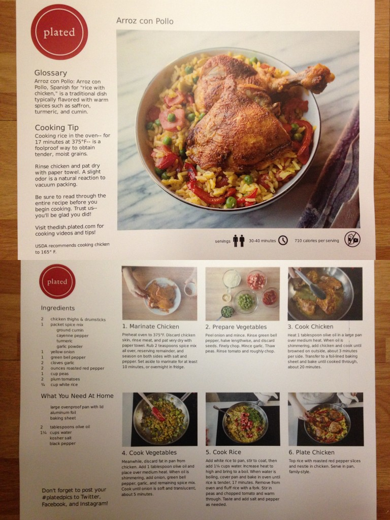 collage of plated arroz con pollo recipe card