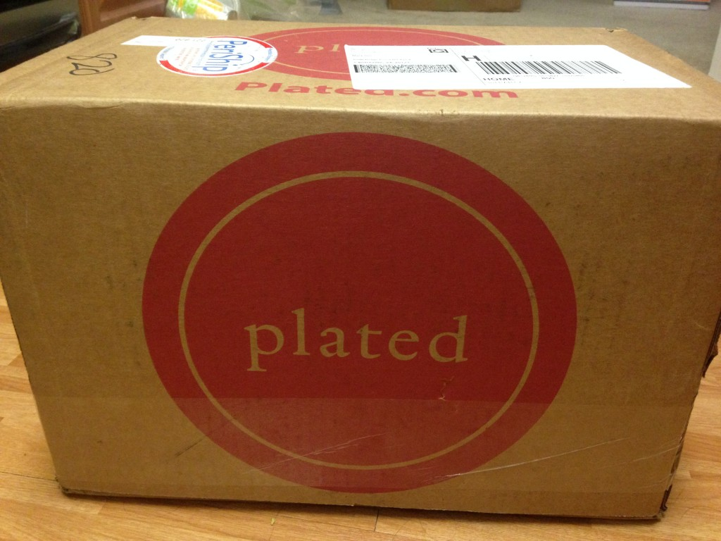 plated cardboard box with large red circle logo