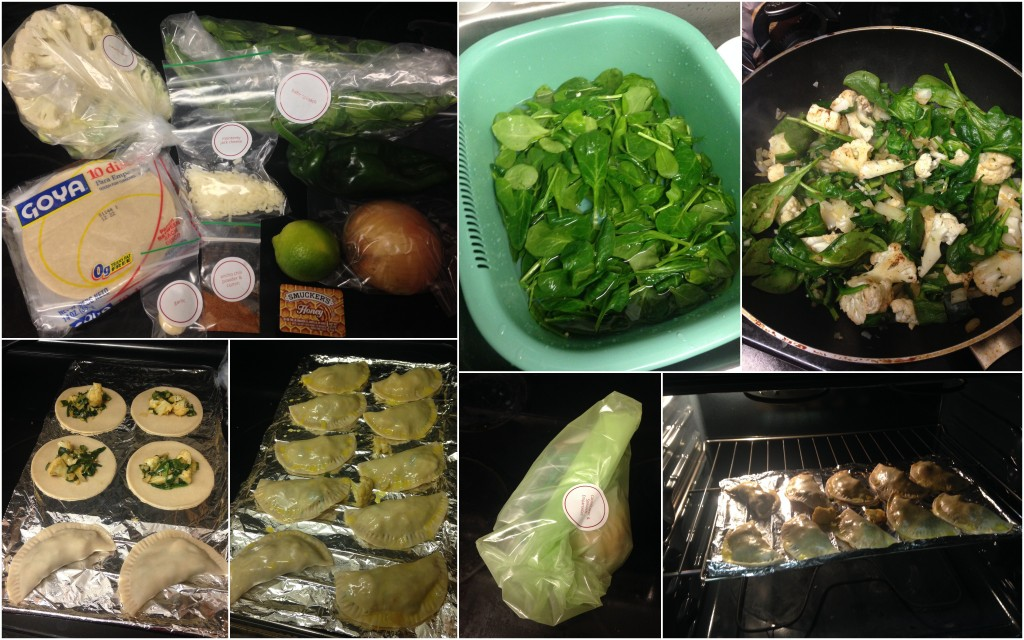 collage of cooking plated spinach and cauliflower empanadas with spinach salad dish