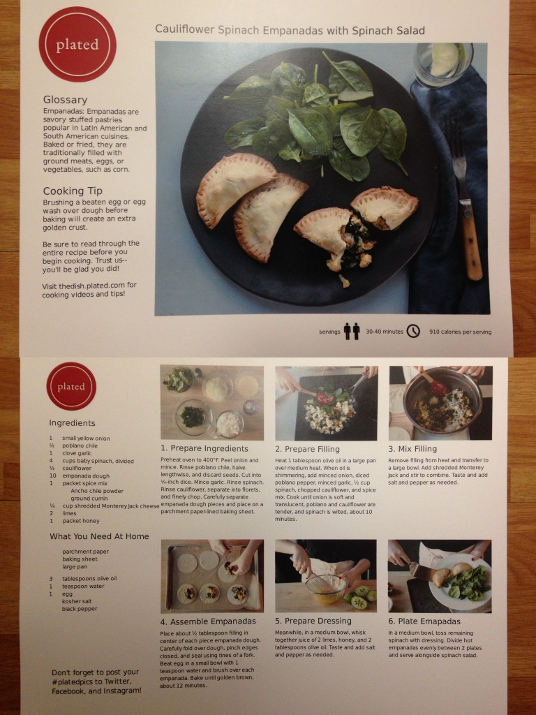 collage of plated spinach and cauliflower empanadas with spinach salad recipe card