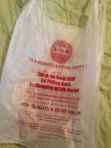 silk market and pearl market plastic bag