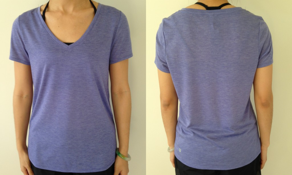 collage of front and back of fabletics versital t in purple sage burnout