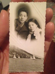 black and white photograph of young chinese couple