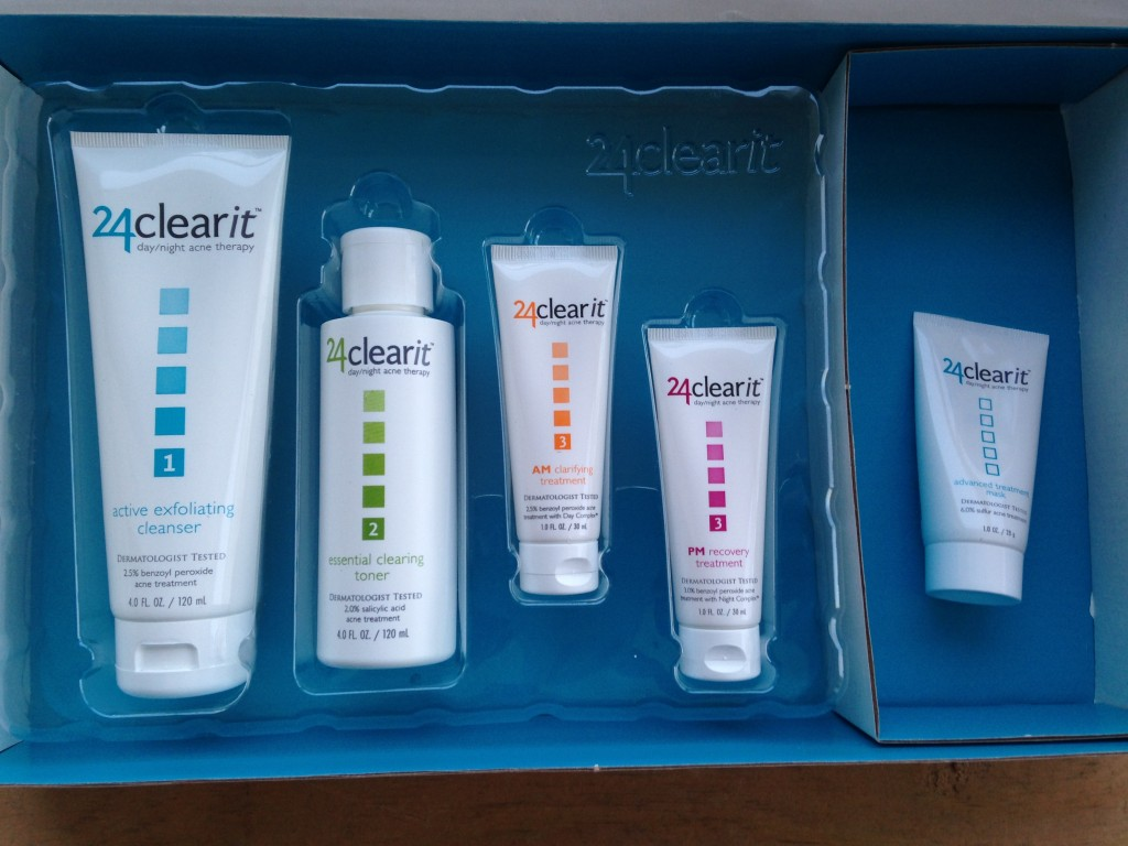 24clearit kit with exfoliating cleanser, clearing toner, clarifying treatment, recovery treatment, and treatment mask