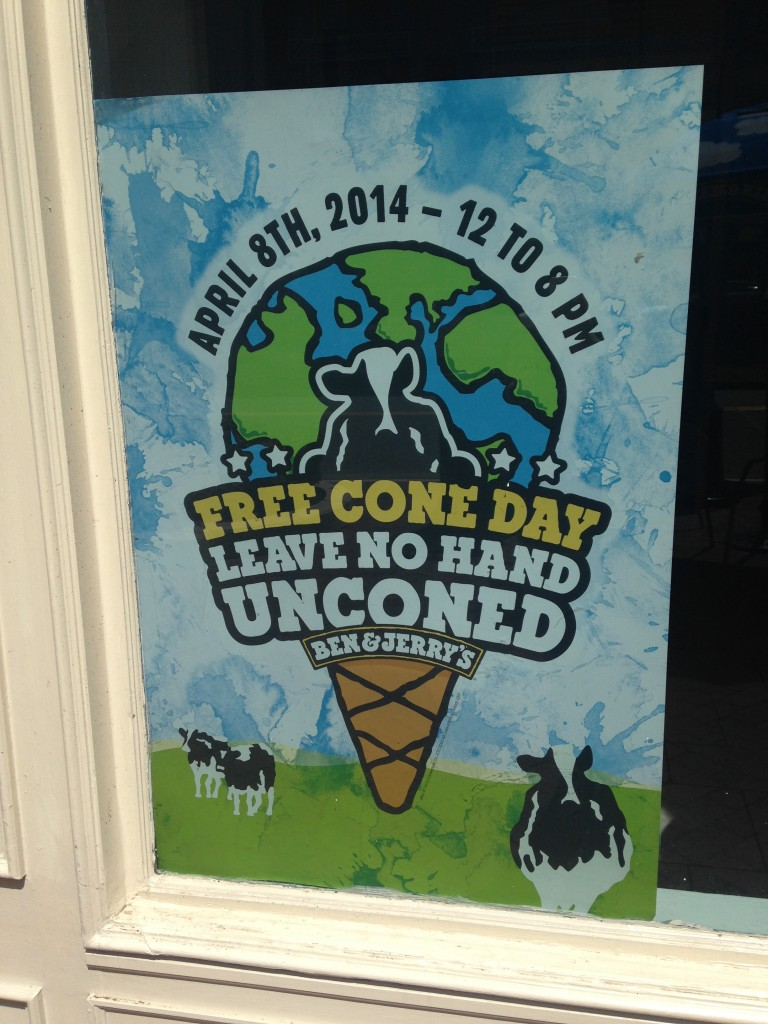 ben and jerry's ice cream free cone day april 8th 2014 sign