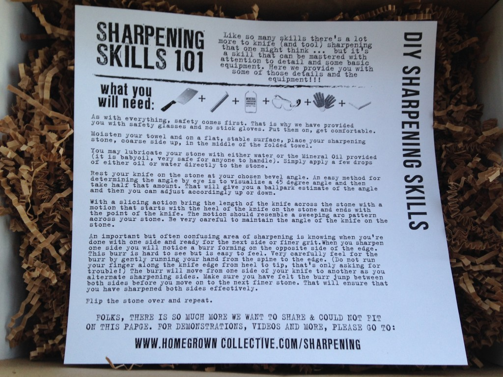 the homegrown collective march 2014 project knife sharpening info card