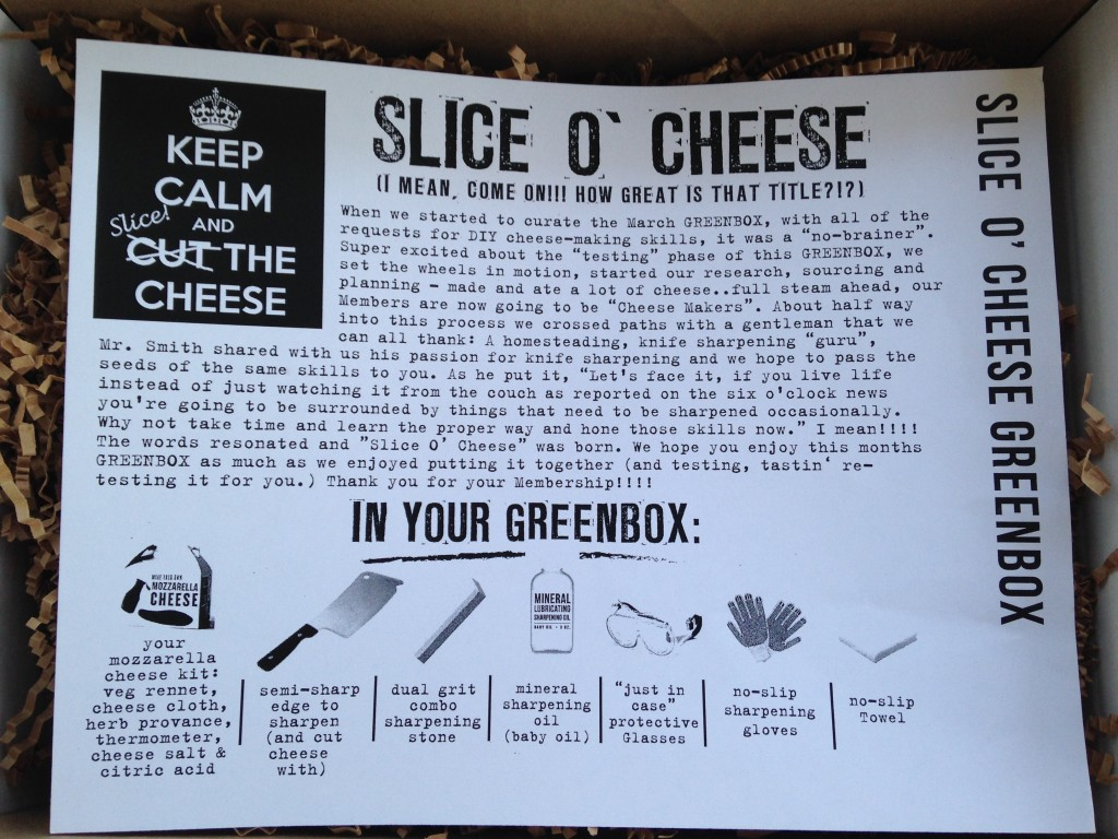 the homegrown collective march 2014 slice 'o cheese info card