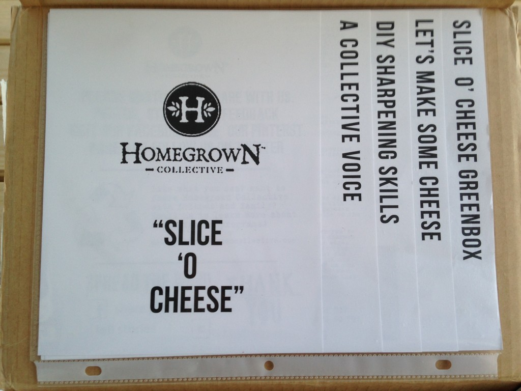 inside of slice 'o cheese homegrown collective box with the info sheets on the inner lid