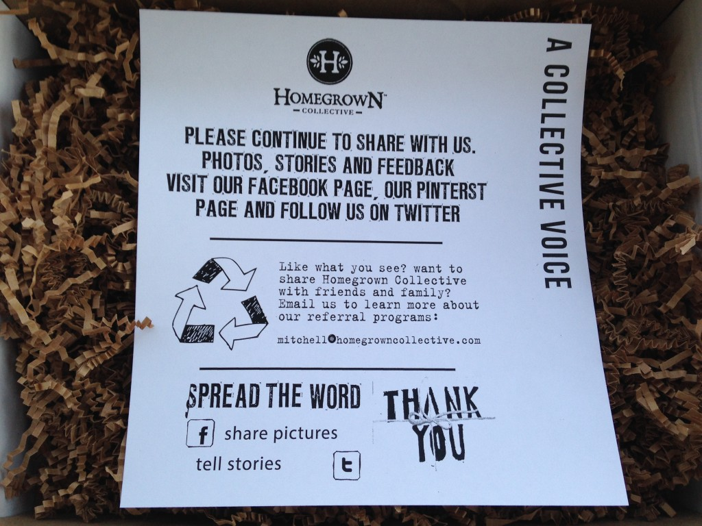 the homegrown collective march 2014 spread the word social media and sharing info card