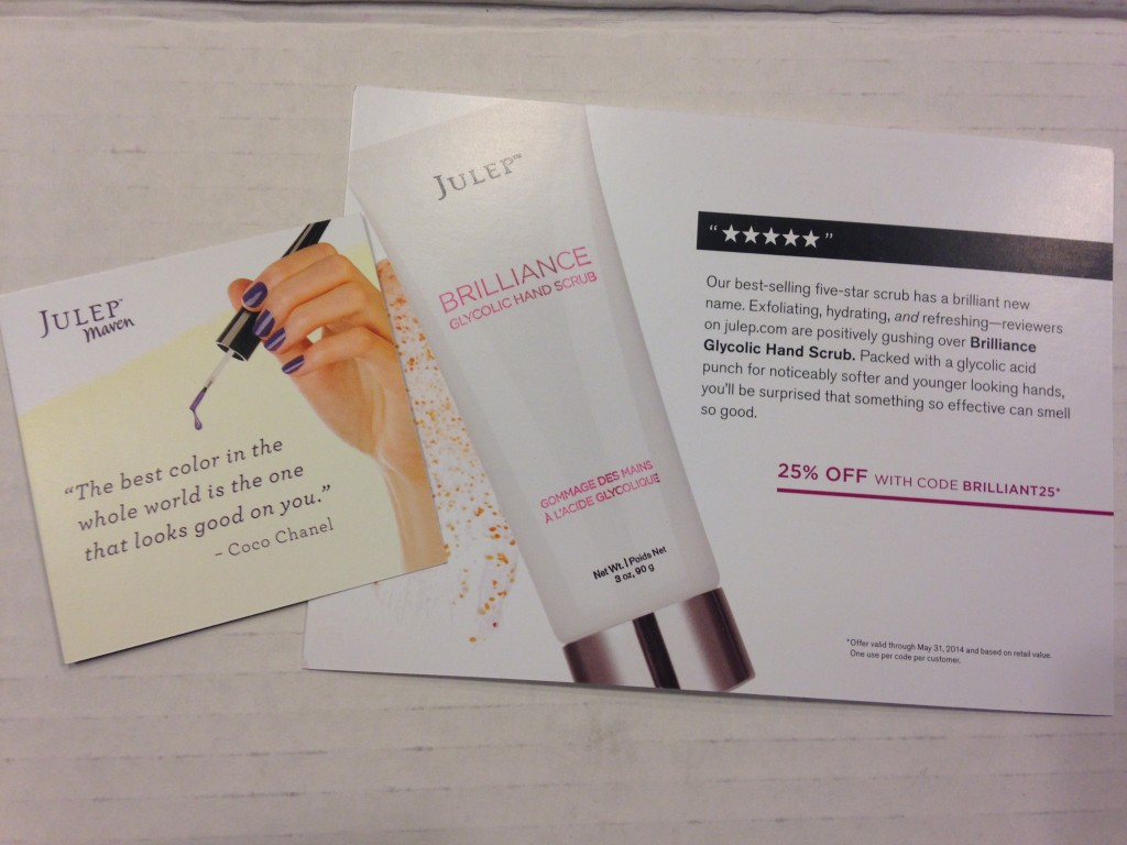 julep quote card and brilliance glycolic hand scrub info card