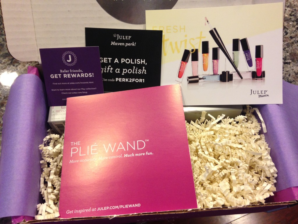 julep referral card, discount offer card, fresh twist info card, and plie wand info card