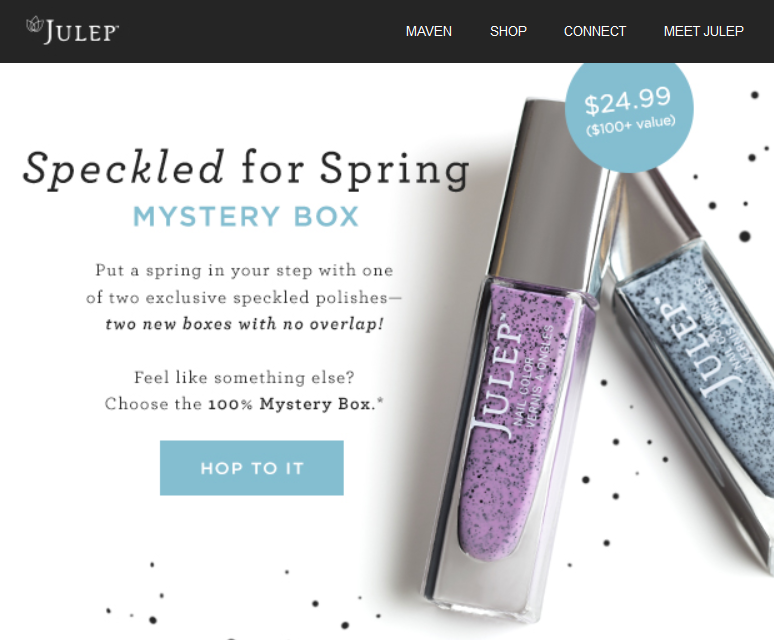julep speckled for spring mystery box email with $100 worth of products including kimberly polish for $25