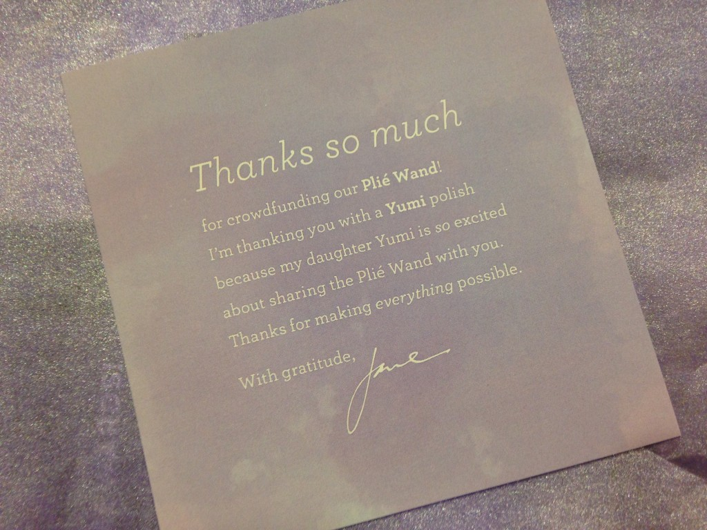 julep plie wand crowdfunding thank you card