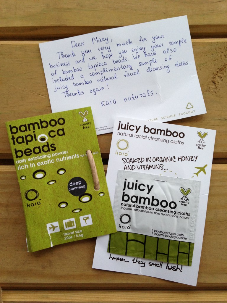 kaia naturals bamboo tapioca beads and juicy bamboo cleansing cloth sample with thank you note