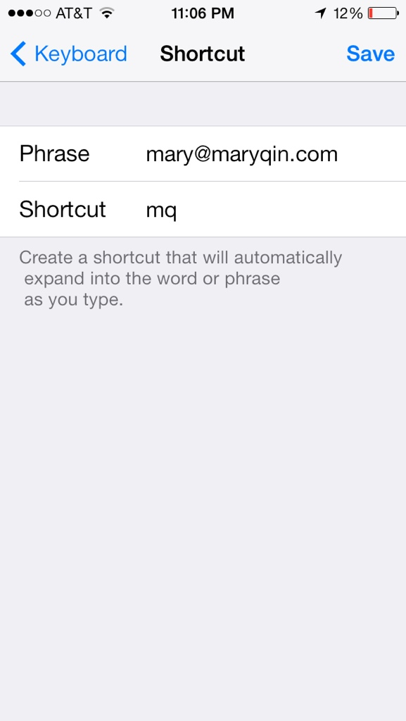 screenshot of area in iphone settings to create keyboard shortcut
