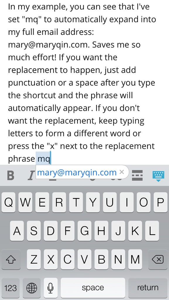 using keyboard shortcut in action on iphone