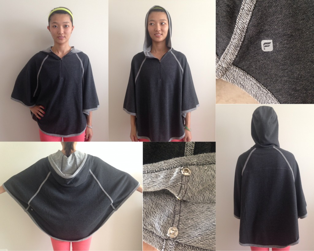 collage of front and back with and without hood and details of fabletics aventura poncho in charcoal heather