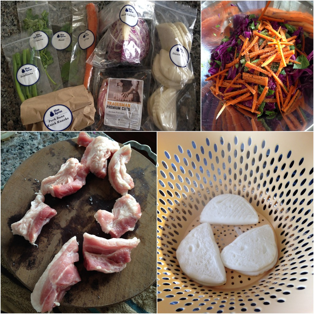 collage of blue apron 5-spice pork buns with red cabbage, carrot and thai basil salad ingredients and meal being cooked