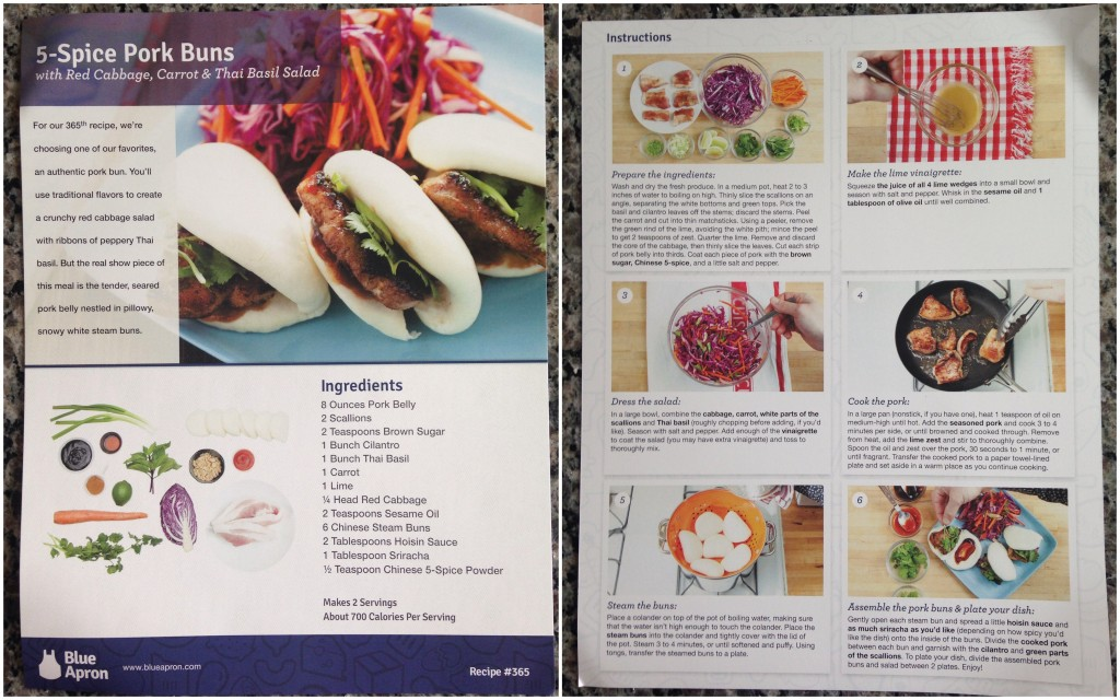 collage of blue apron 5-spice pork buns with red cabbage, carrot and thai basil salad recipe card