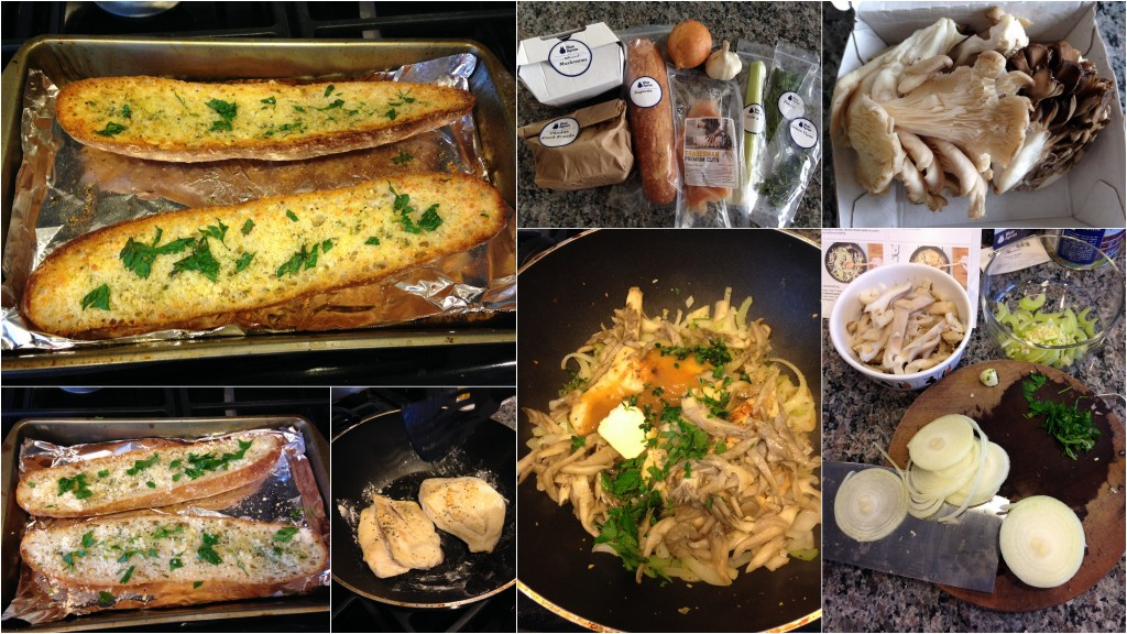 collage of blue apron chicken and mixed mushroom forager with toasted parmesan-garlic bread ingredients and meal being cooked