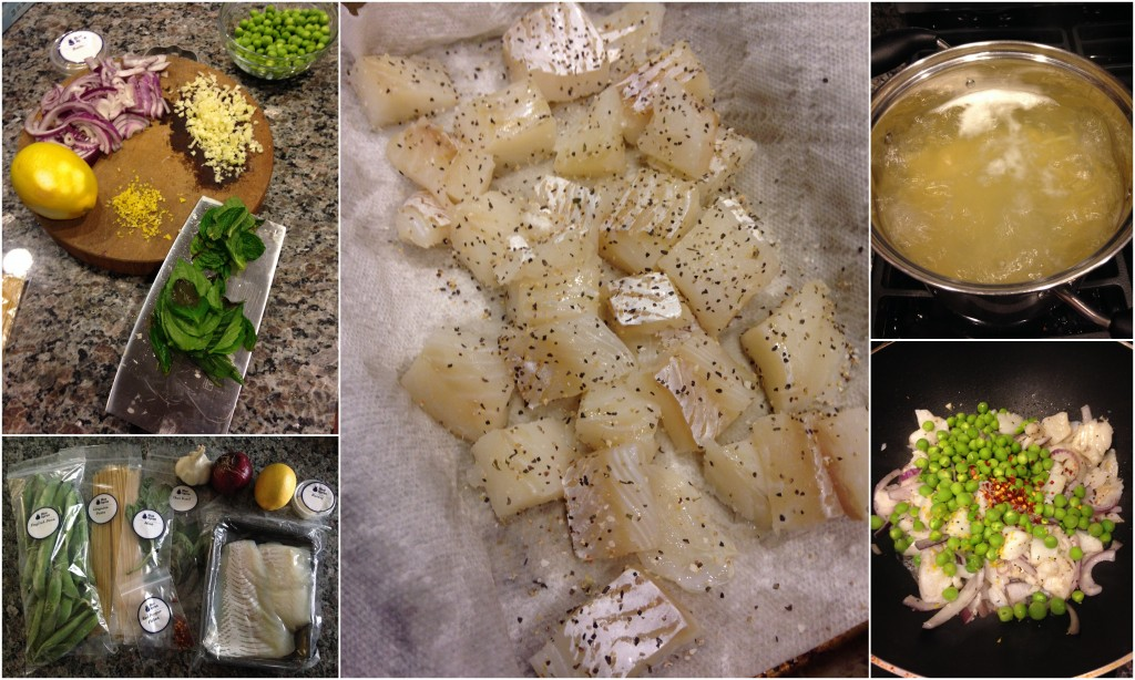 collage of blue apron cod over linguine with fresh peas, meyer lemon and spring herbs ingredients and meal being cooked