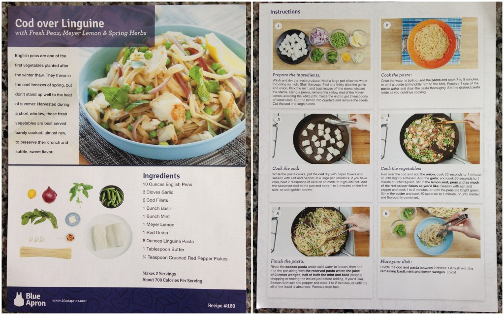 collage of blue apron cod over linguine with fresh peas, meyer lemon and spring herbs recipe card