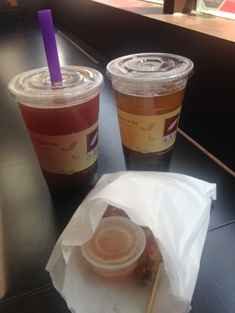 cha for tea boba tea drinks and crispy chicken appetizer snack
