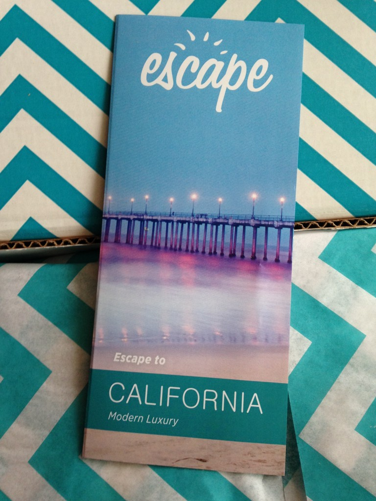escape monthly may california box info card against blue and white chevron background